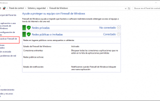 Activar o desactivar firewall Windows