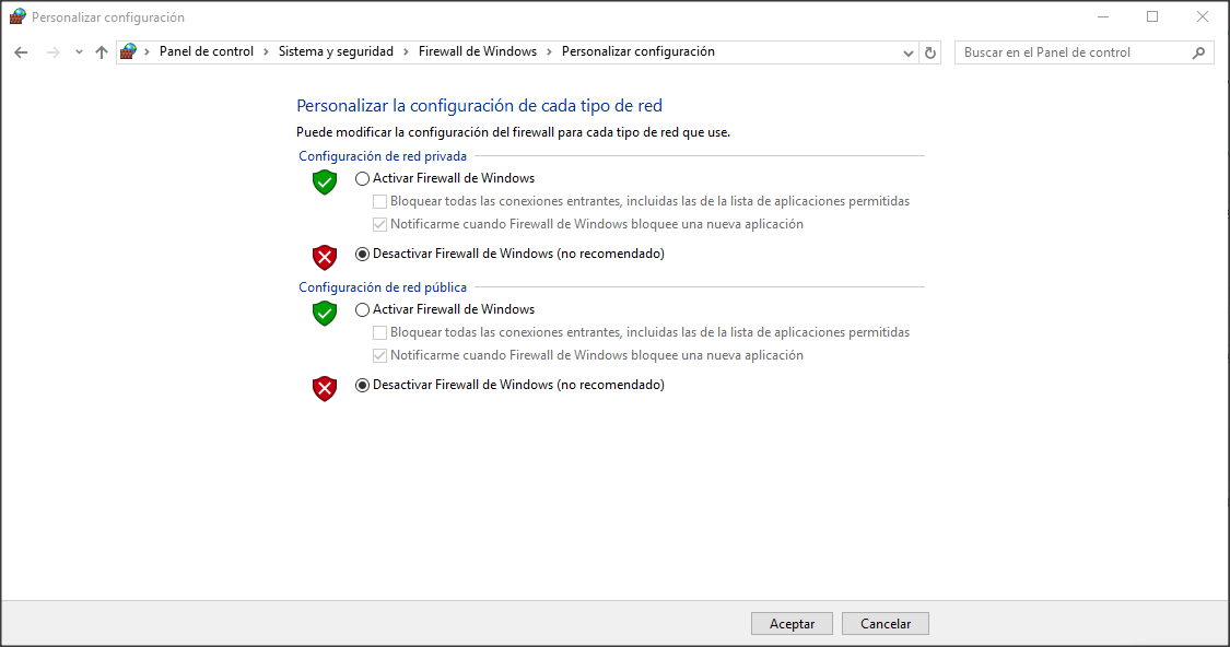 Desactivar Firewall