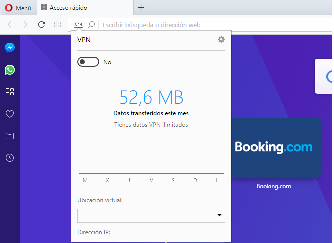 Activar VPN Navegador Opera