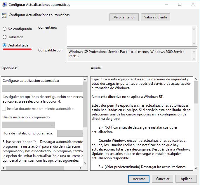 deshabilitar configurar actualizaciones automaticas